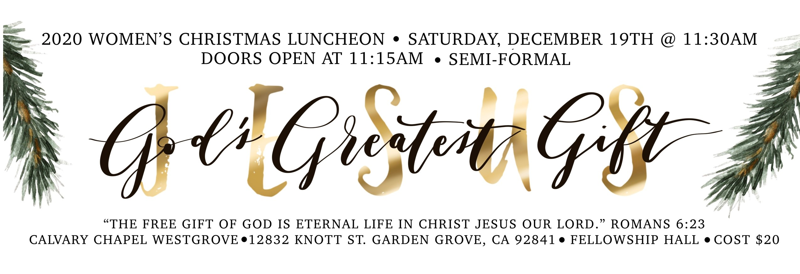 2020 Women's Christmas Luncheon | God's Greatest Gift
